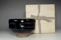 sale: Kuro raku chawan - black tea bowl marked 12th Raku Konyu w/ wooden box