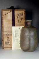 sale:  Bizen Tokkuri - Pottery Sake bottle marked Kaneshige Toyo w/ original box
