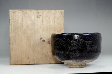 sale: Antique kuro-raku tea bowl marked Konyu