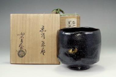 sale: Antique kuro-raku chawan by Konyu
