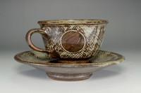 sale: Pottery Tea Cup and Saucer in Masiko Ware by Simaoka Tatsuzo