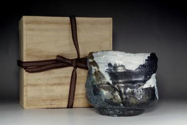 sale: Fine art pottery black seto tea bowl