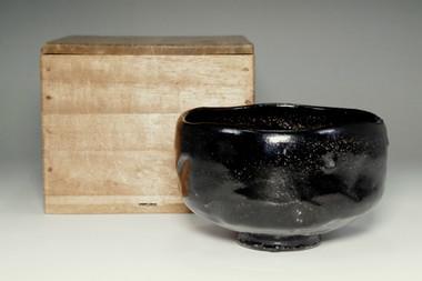 sale: 12th Raku Konyu kuro-raku tea bowl