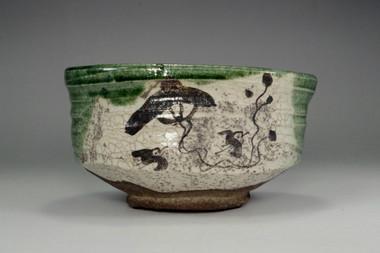 sale:  Green oribe tea bowl