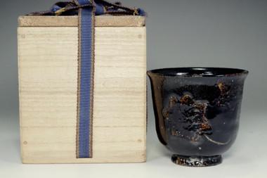 sale: 10th Raku Tannyu antique kuro-raku glazed tea cup