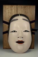 sale: Wooden noh mask 'Koomote' by Okita Masatatsu