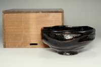 sale: Antique kuro-raku tea bowl by 7th Raku Chonyu