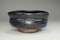 sale: Black glazed Oribe pottery tea bowl