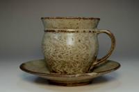 sale: 1960's Shimaoka Tatsuzo 'jomon zogan' cup and saucer