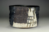 sale:  'Kuro oribe chawan' black glazed tea bowl