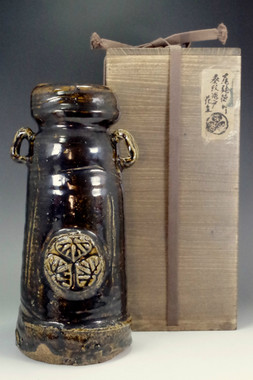sale: Tokugawa mitsuba aoi mon' antique seto pottery flower vase