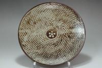 sale: Shimaoka Tatsuzo 'jomon zogan' inlaid mashiko pottery plate