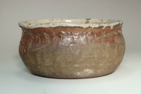 Otagaki Rengetsu 'kensui' antique poem carved pottery bowl #3097