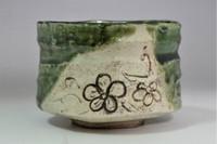 sale: 'Oribe chawan' glazed tea bowl #3107