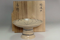 Shino pottery compote plate by Rosanjin w/ Kuroda Totosai signed box #3224