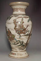 Antique Satsuma pottery flower vase 'samurai' #3227