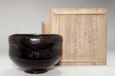 sale: Raku 6th Sanyu 'kuro raku chawan' tea bowl