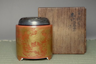 sale: Eiraku Zengoro 'kinrande koro' incense burner w/ silver lid