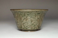 sale: Olive Green Chinese Yue Porcelain Relief Cup