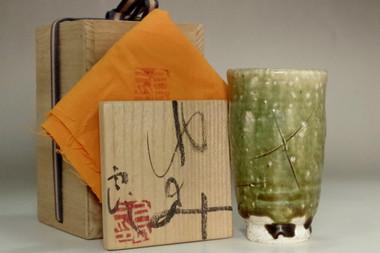 sale:  Koie Ryoji (1938- ) oribe glazed pottery cup