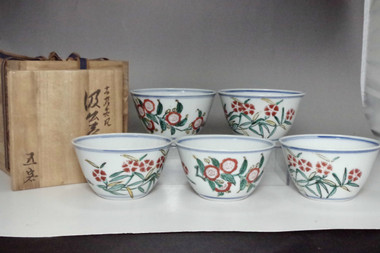 sale: Set of 5 Antique Chinese yingcai cups w/ Chenghua mark