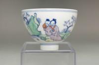 sale: Chinese doucai cup w/ Kangxi mark