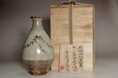 sale: Shimaoka Tatsuzo 'Jomon' inlaid pottery bud vase