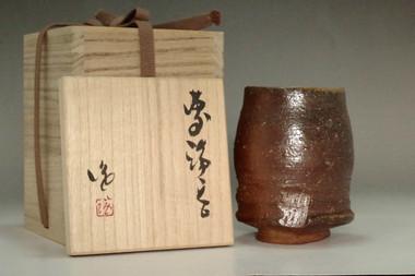 sale: Kakurezaki Ryuichi made Japanese pottery cup in bizen ware