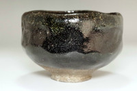 sale:  Kato Sekishun(1870-1943) Antique Kuro-raku tea bowl #3404 (3404)
