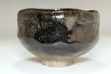 sale:  Kato Sekishun(1870-1943) Antique Kuro-raku tea bowl #3404 (3404)