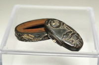 17c-18c Fuchi Kashira - Antique samurai sword ornaments #3427