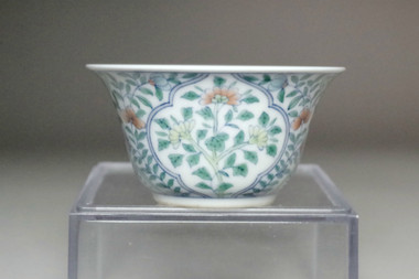 sale: Chinese doucai tea cup w/ Qianlong official porcelain mark