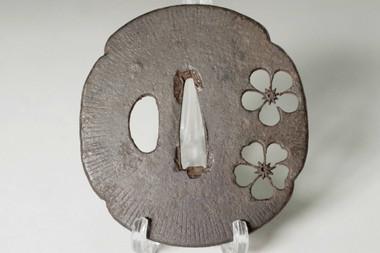sale: Sakura Sukashi Tsuba - Iron samujrai sword guard from Japan
