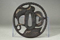 Echizen Kinai Tsuba - Iron samurai sword guard form Japan #3489