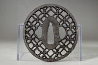 Sukashi Tsuba - Antique iron samurai sword guard from Japan #3490
