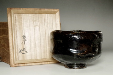 sale: 11th Raku - Keinyu (1817-1902) Kuro-Raku tea bowl