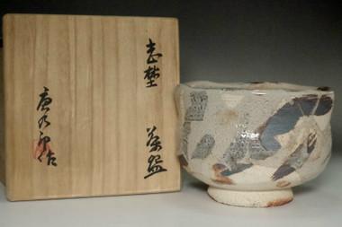 sale: Kato Tokuro (1896-1985) Shino glazed tea bowl