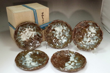 sale: Hamada Shinsaku (1929- ) Set of 5 Mashiko ware plates