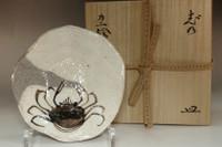 sale: Kitaoji Rosanjin (1883-1959) Crab painting plate w/ Kuroda Totoan appraisal box