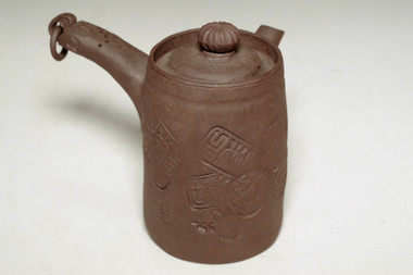 sale: Antique Japanese purple clay pottery tea pot in Banko ware