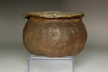 sale: Otagaki Rengetsu 'kensui' antique poem carved pottery bowl
