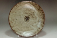 sale: Jomon inlay plate in Mashiko ware by Shimaoka Tatsuzo