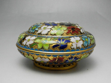 Vintage Chinese Cloisonne Incense Case - Colorful Flower