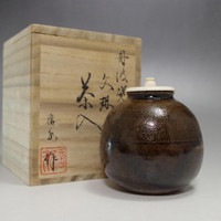 Modern Bunrin shaped Japanese Tamba Pottery Tea caddy