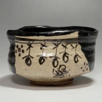 sale: KURO ORIBE CHAWAN - Modern Japanese Black Tea Bowl - MINO Ware