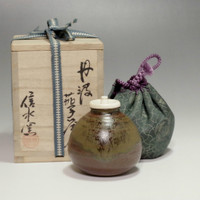 sale: TAMBA CHAIRE Japanese Signed Pottery Tea Caddy by Shinsui w TOMOBAKO