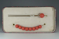 sale: KANZASHI - Vintage Japanese hair pin w 9 coral beads