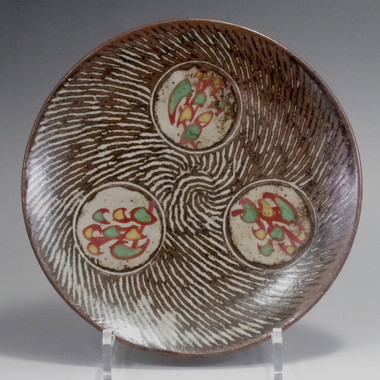 sale: Jomon inlay plate in Mashiko ware by Shimaoka Tatsuzo #2326