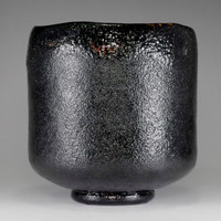 sale: KURO RAKU CHAWAN Japanese Pottery Tea Bowl Signed