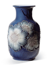 LLADRO POPPY FLOWERS TALL VASE (BLUE) (01008649 / 8649)